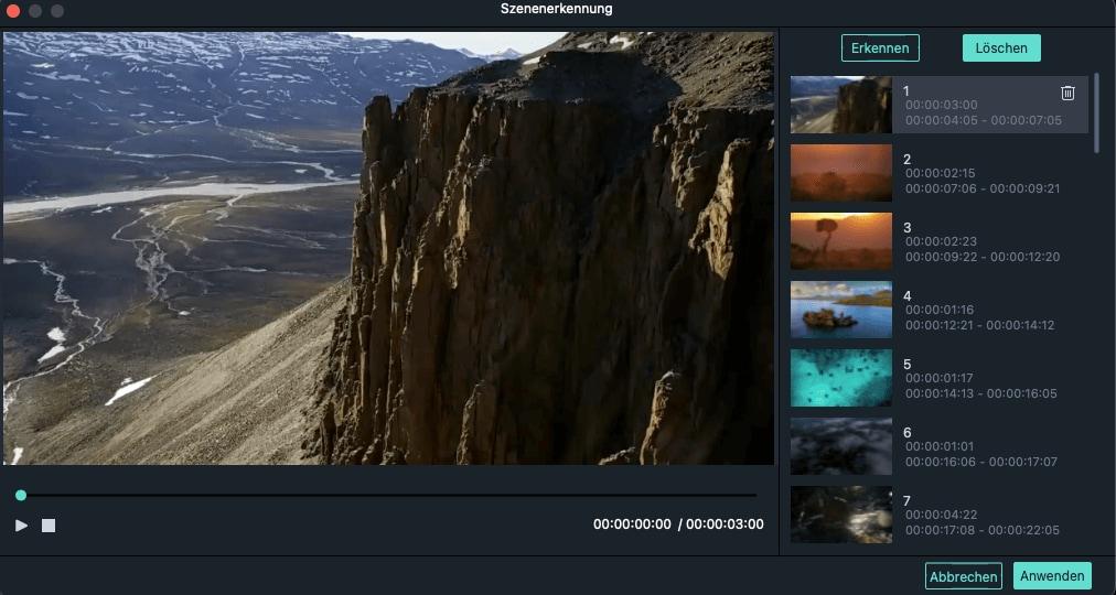 Filmora scene detection interface