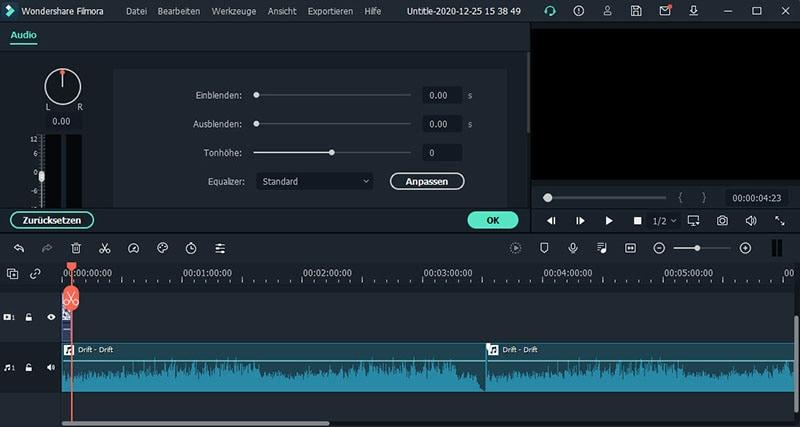 audio anpassen filmora