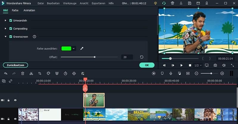 green screen einsetzen