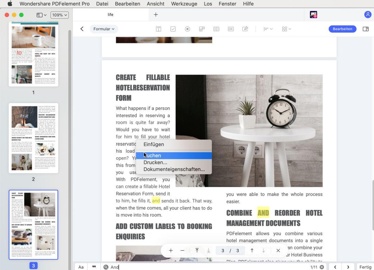 wie man ein pdf auf dem Mac durchsucht