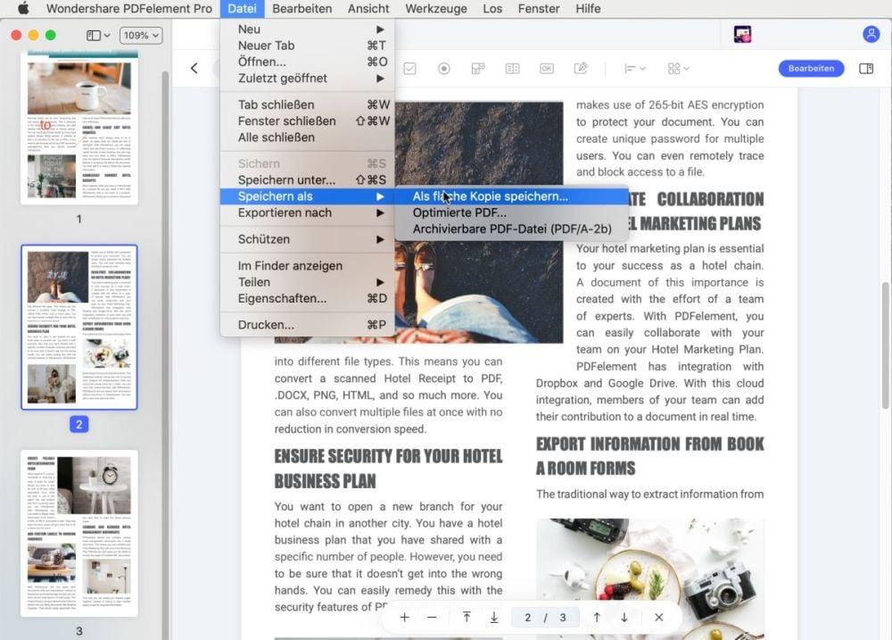 mac-vorschau pdf verflachen