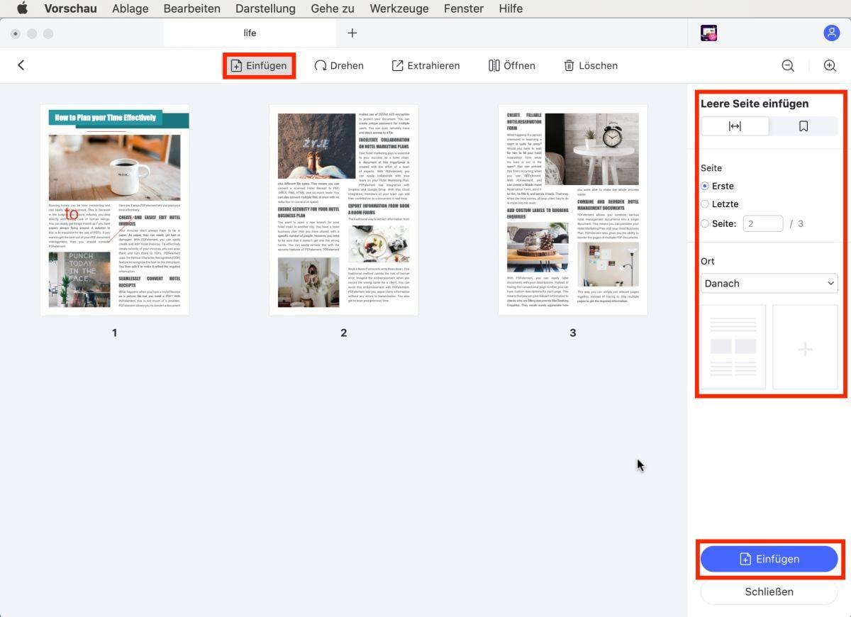 Seiten in pdf mac einfügen