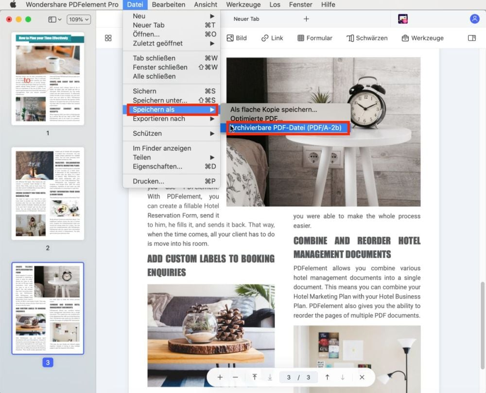 pdf zu pdf a auf einem mac