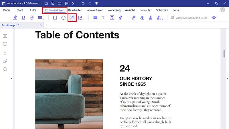 Wie füge ich einen Pfeil im PDF hinzu?