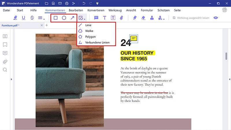 wie man Formen im PDF hinzufügt