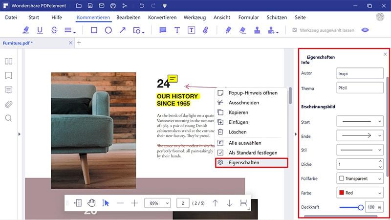 Pfeil in PDF einfügen