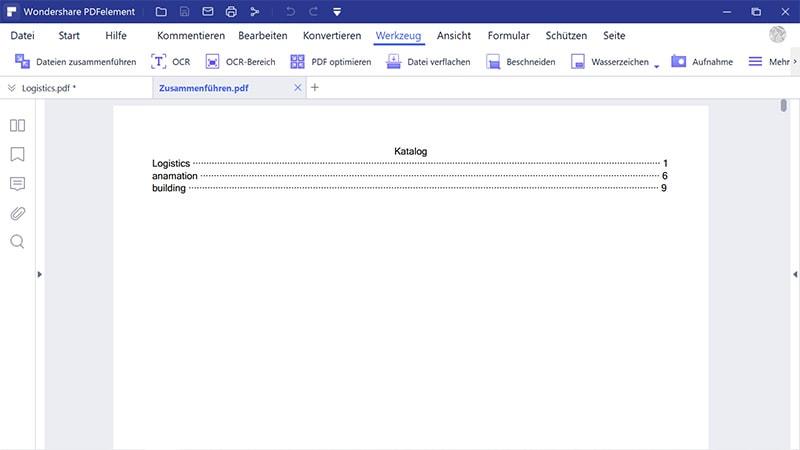 Generieren Sie einen neuen Katalog im PDF-Format