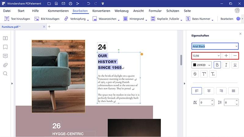 schriftgröße in ausfüllbarem pdf ändern