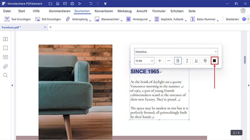 Schriftfarbe in pdf ändern