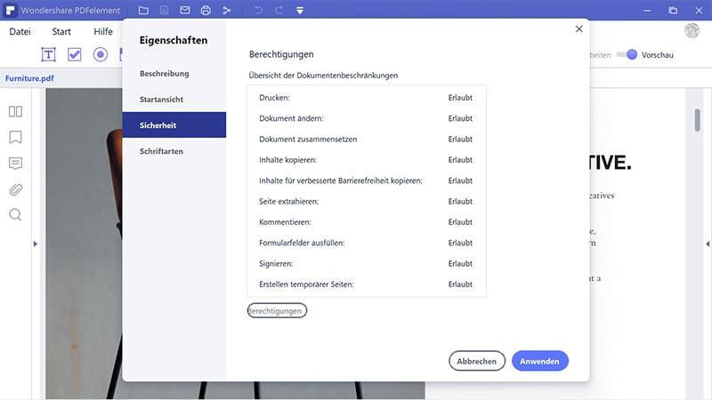 PDF-Berechtigung überprüfen