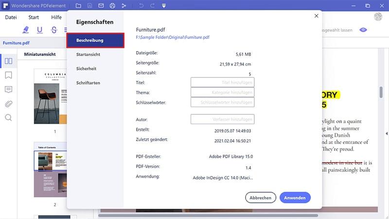 Metadaten in PDF bearbeiten