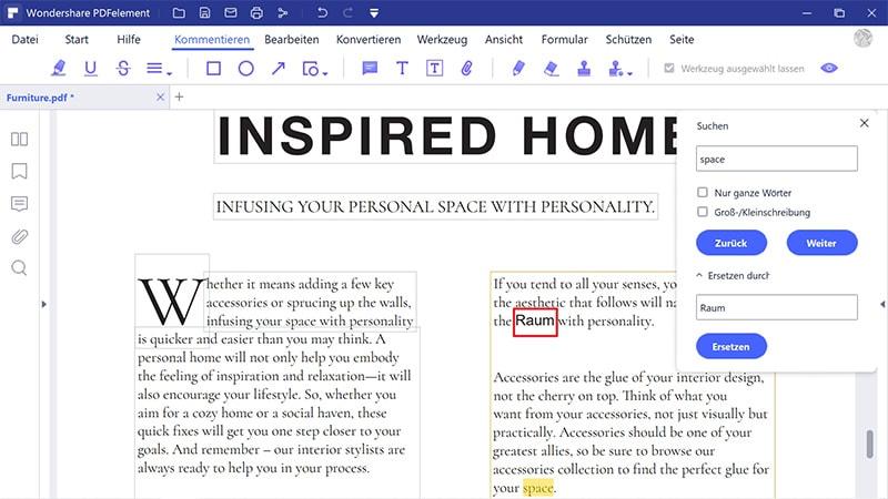 finden und ersetzen in pdf online