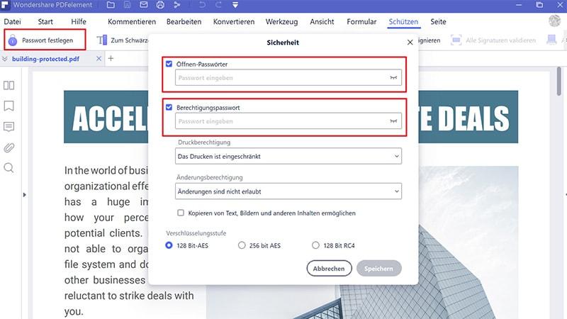 PDF-Berechtigungseinstellungen bearbeiten