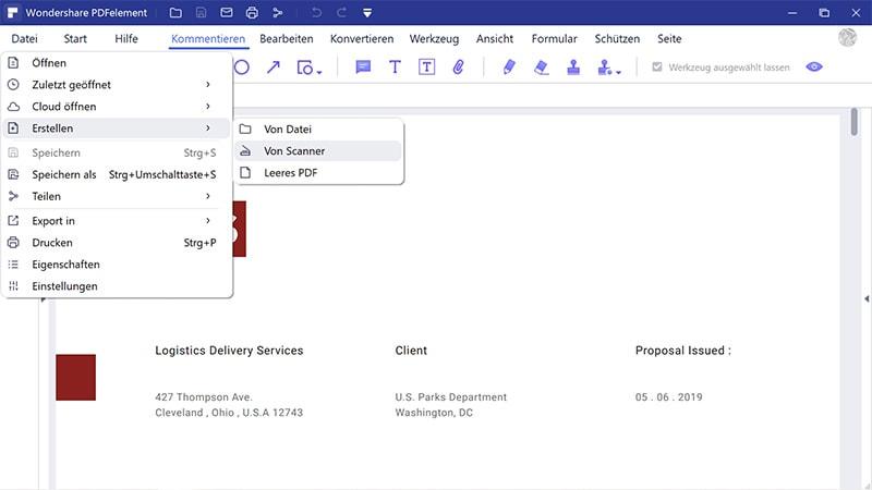 Dokument in Excel scannen