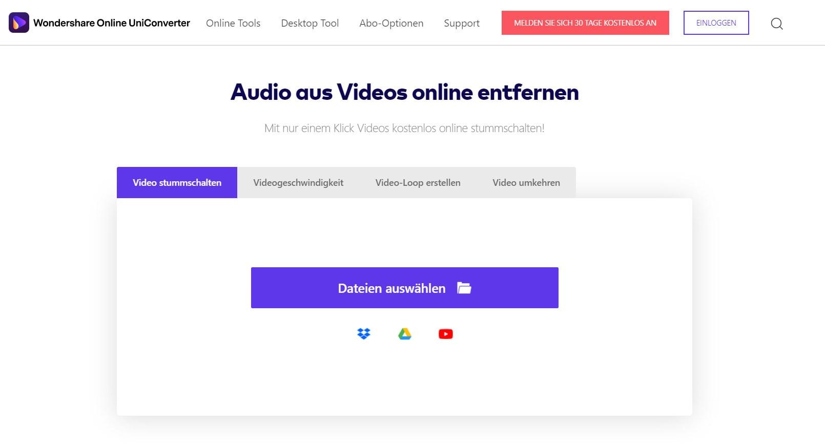 Video online stummschalten mit dem Online UniConverter