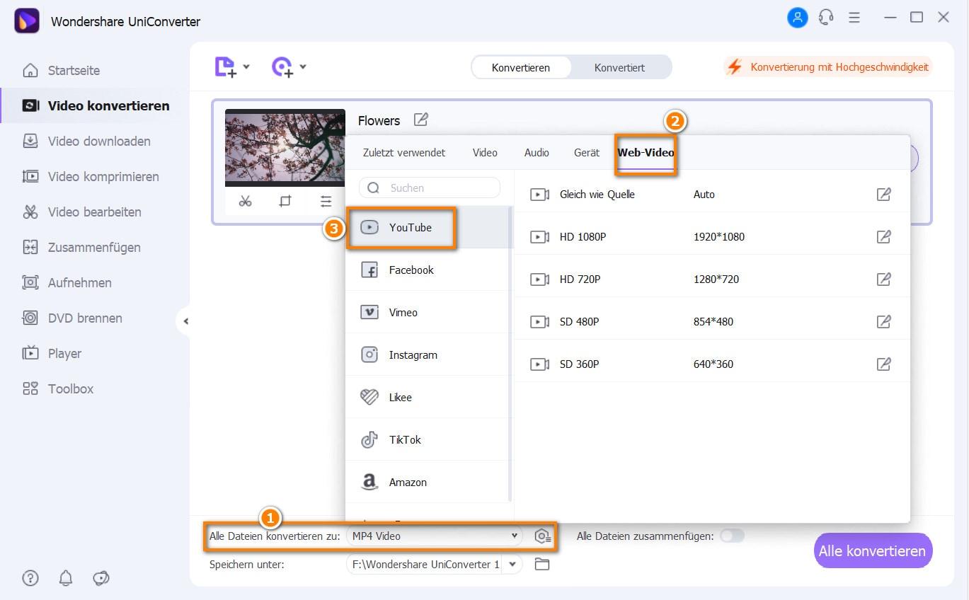 Umwandeln von mp3 in das youtube Preset-Format