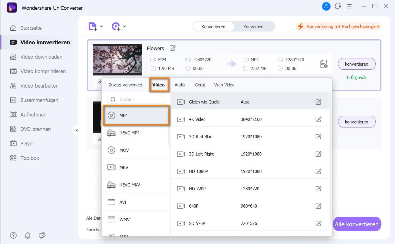 VLC-kompatibles Ausgabeformat auswählen