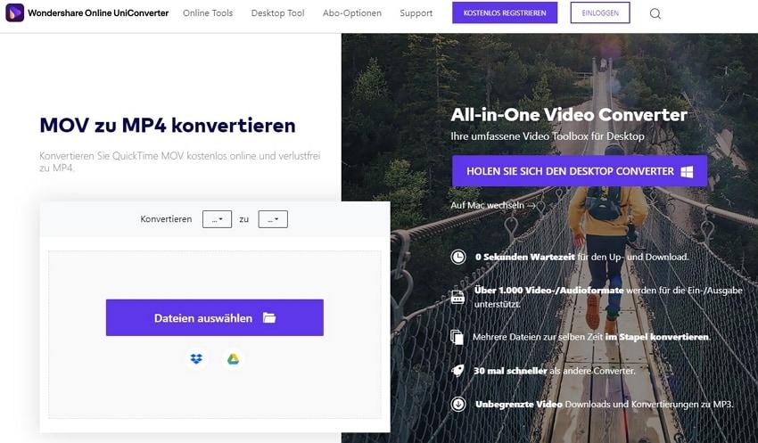 Online MOV to MP4 Converter - mit Wondershare Online UniConverter MOV zu MP4 kostenlos konvertieren