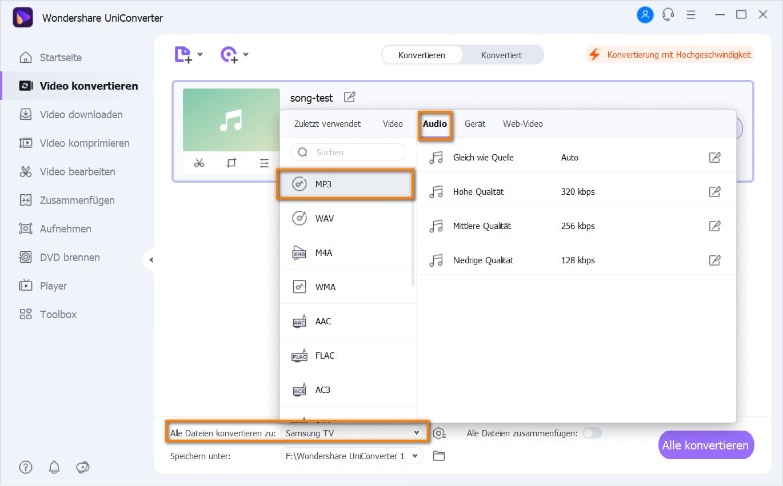 Ausgabeformat für MP3 Dateien wählen
