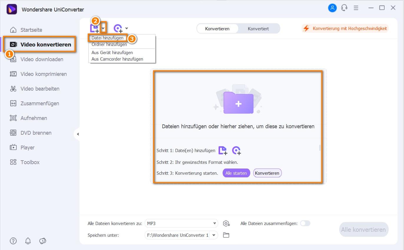 MOV zu MP4 konvertieren Schritt 1: MOV-Dateien hinzufügen