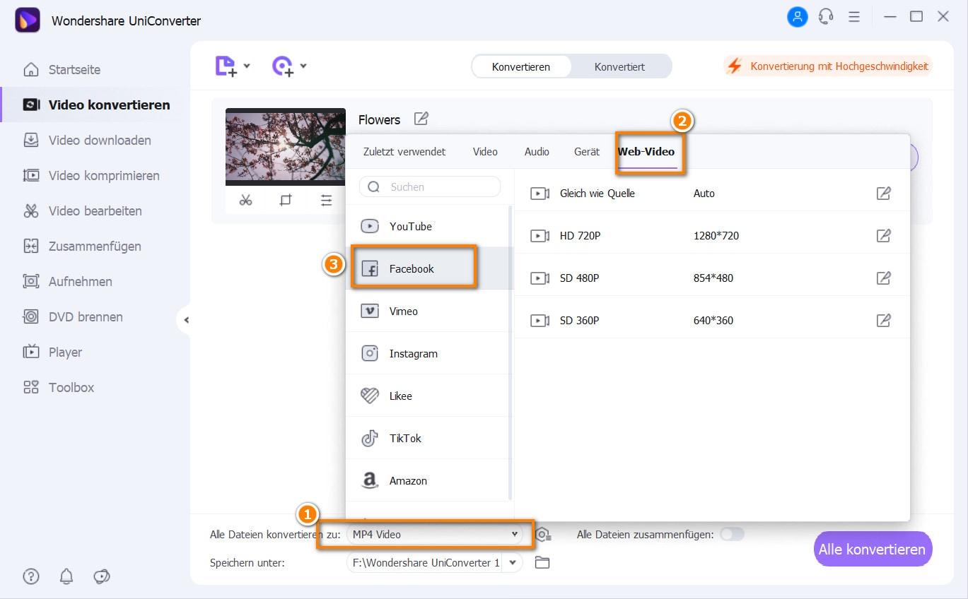 Facebook-Videoformat wählen