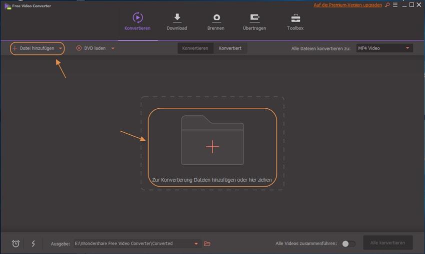 Videos hinzufügen zum Free Video Converter für windows