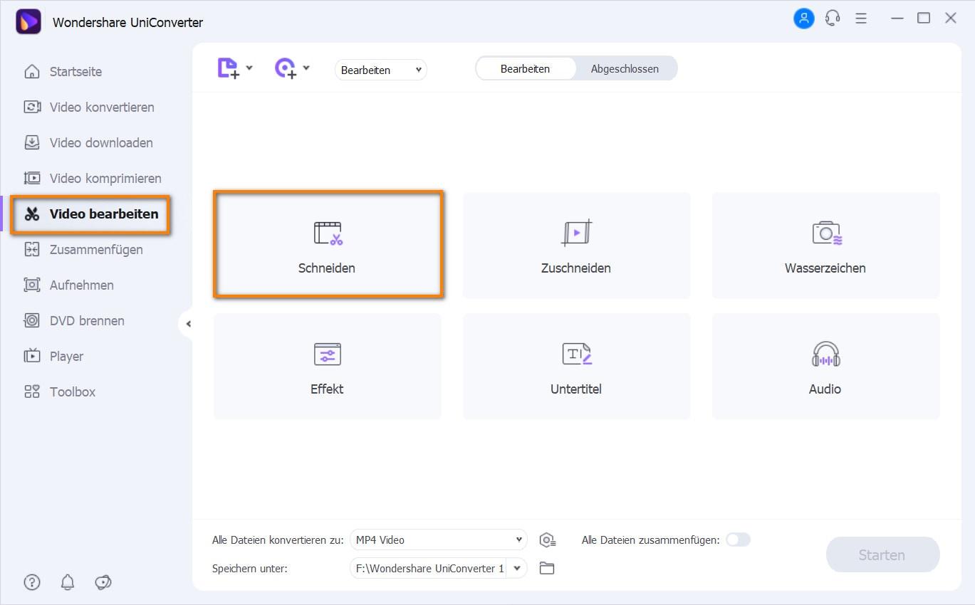Video Editor auswählen und Video hinzufügen