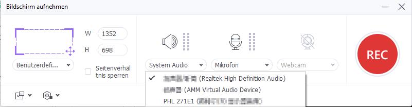 System-Audio-Einstellung wählen