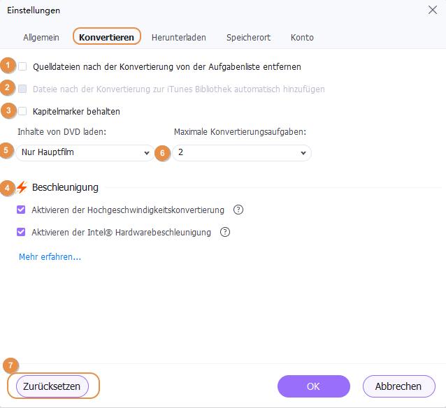 Wondershare UniConverter einrichten - Einstellungen konvertieren