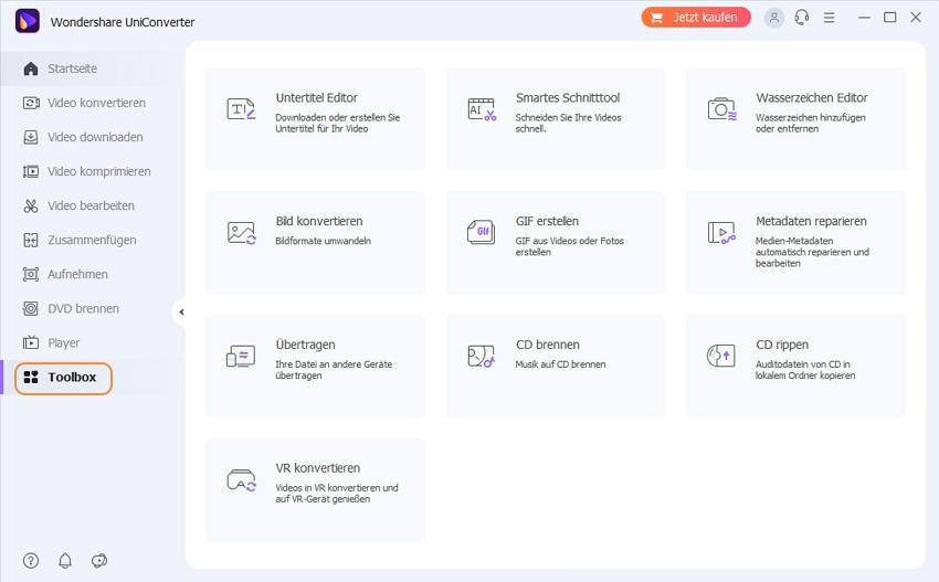 Wondershare UniConverter Grundlagen - Werkzeugkasten für Windows