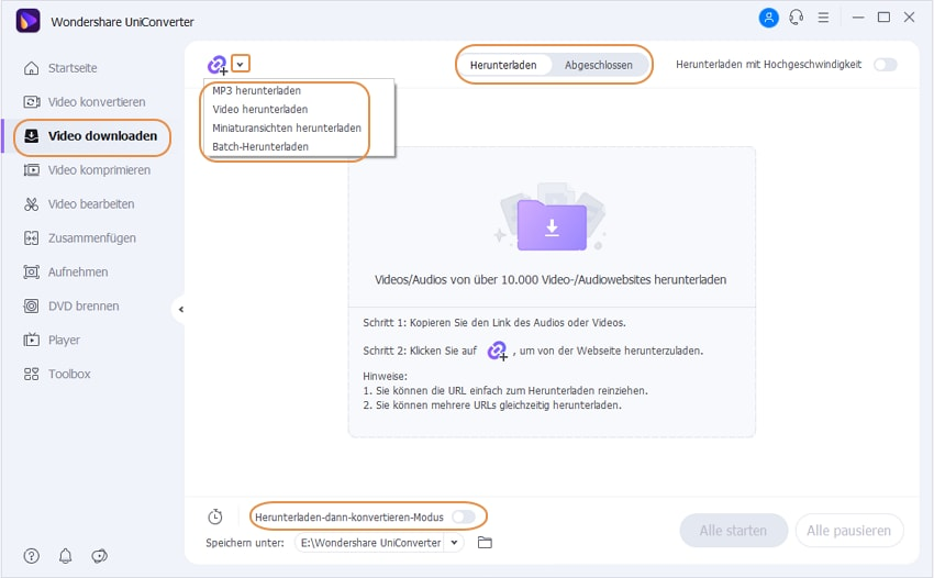 Wondershare UniConverter Grundlagen - Download Funktionen