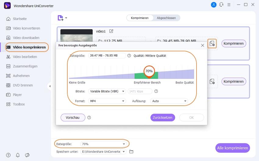 Wondershare UniConverter Grundlagen - Video Komprimierungsfunktionen