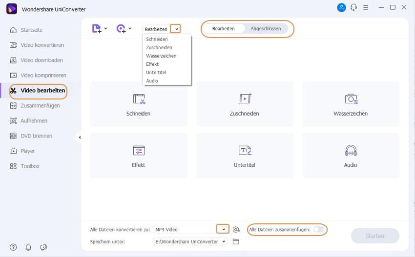 Wondershare UniConverter Grundlagen - Bearbeitungsfunktionen