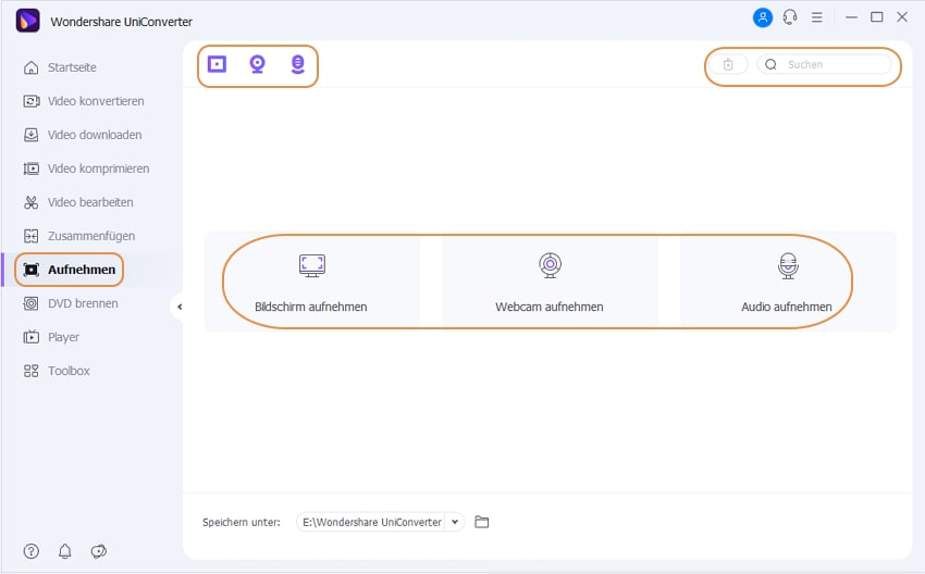 Wondershare UniConverter Grundlagen - Aufnahmefunktionen
