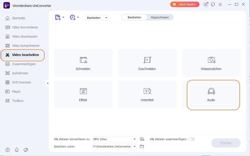Schritt1: das Audiobearbeitungs-Fenster von Wondershare UniConverter öffnen