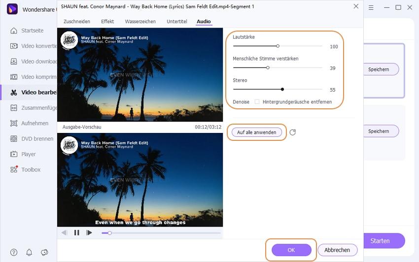 Schritt 2: Datei hinzufügen und Lautstärke/Audioeffekte ändern