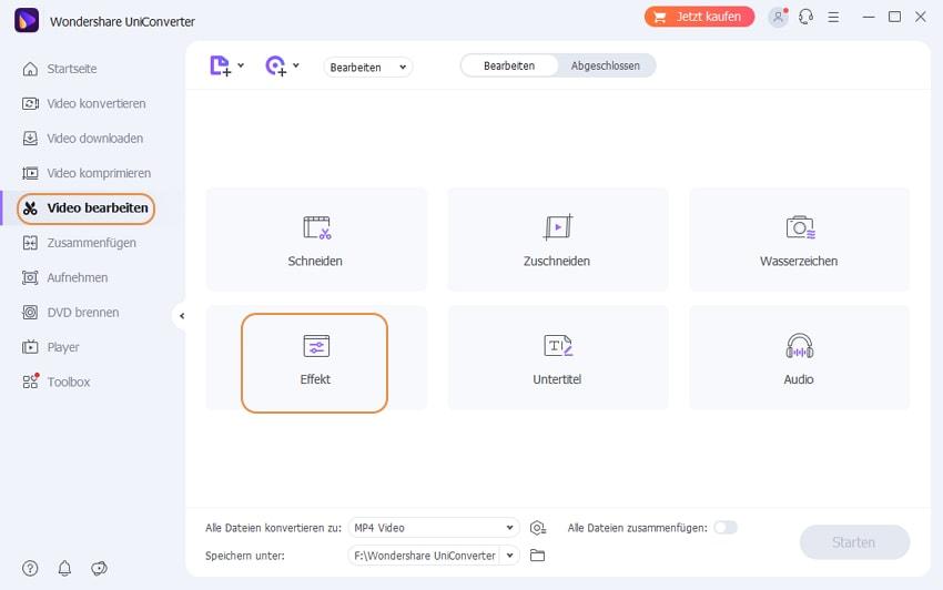 Schritt 1: Wondershare UniConverter starten und Effekt Fenster öffnen