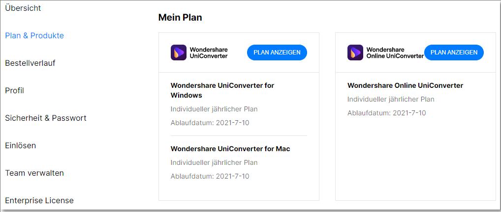 UniConverter Konto Pläne und Produkte
