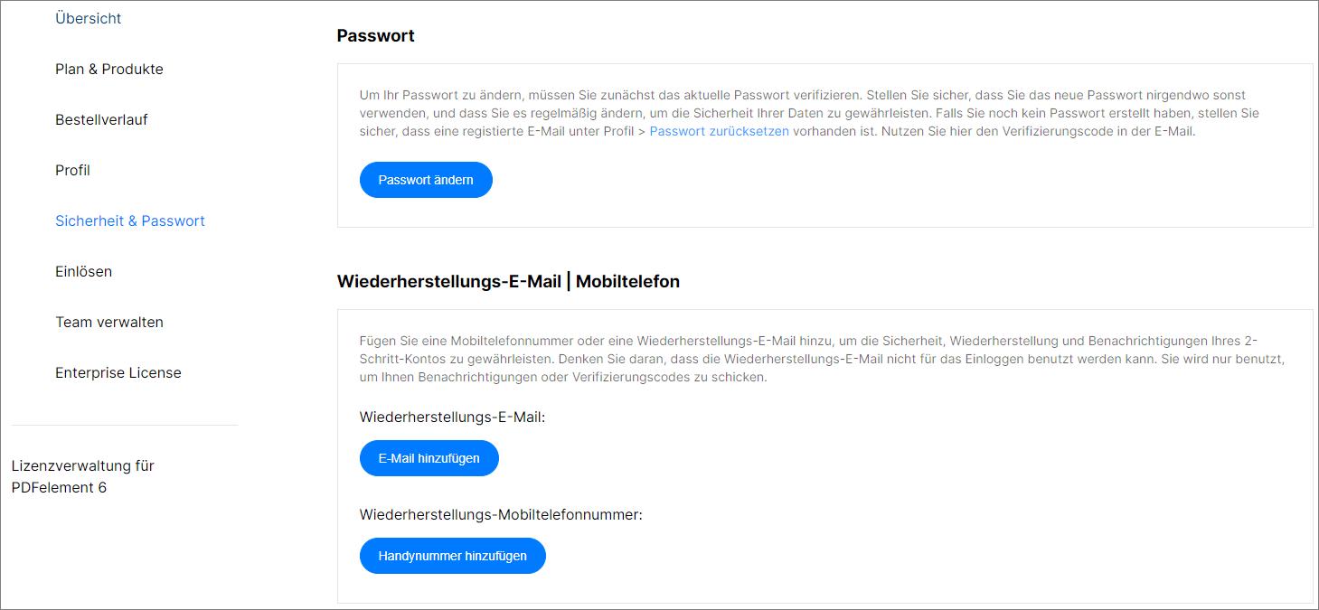 UniConverter Account Passwort ändern