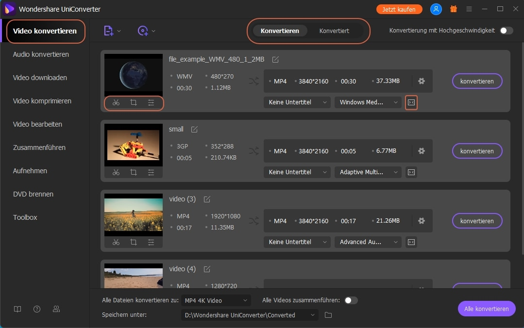 Wondershare UniConverter Grundlagen - Videofunktionen konvertieren