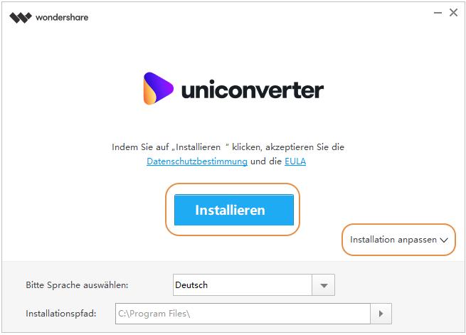 Wondershare UniConverter 13 installieren - Sprache auswählen