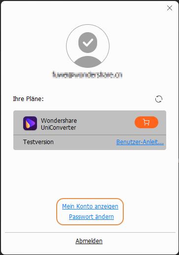 Im UniConverter mit Wondershare ID anmelden
