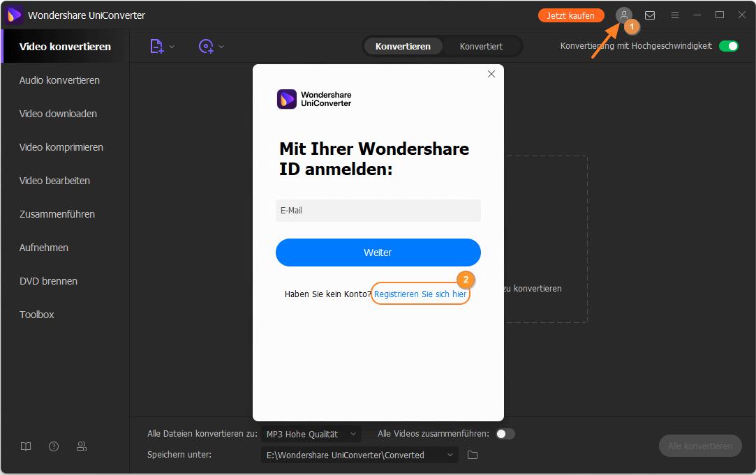 Neuen Account für UniConverter erstellen
