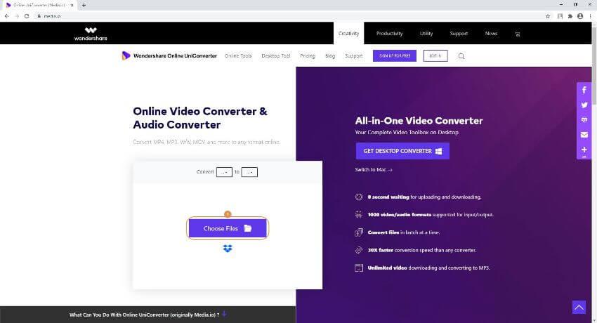 MP4 in AVI umwandeln online - Online UniConverter
