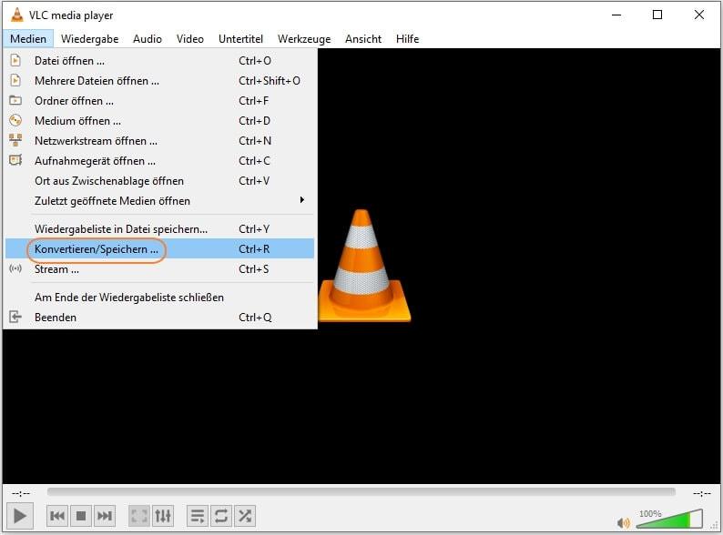 """MP4 in AVI umwandeln mit VLC - VLC öffnen und auf """"Konvertieren/Speichern"""" klicken"""