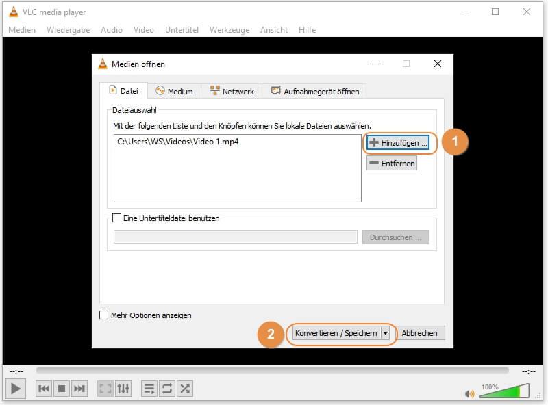 MP4 in AVI umwandeln mit VLC - MP4 Dateien hinzufügen