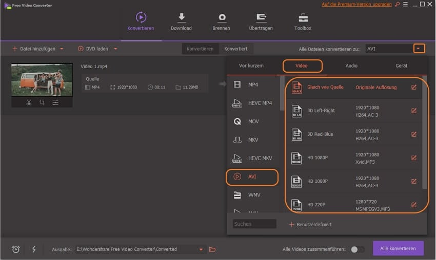 MP4 in AVI umwandeln mit Wondershare Free Video Converter - AVI als Ausgabeformat auswählen