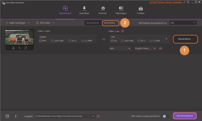 MP4 in AVI umwandeln mit Wondershare Free Video Converter - den Konvertierungsprozess starten